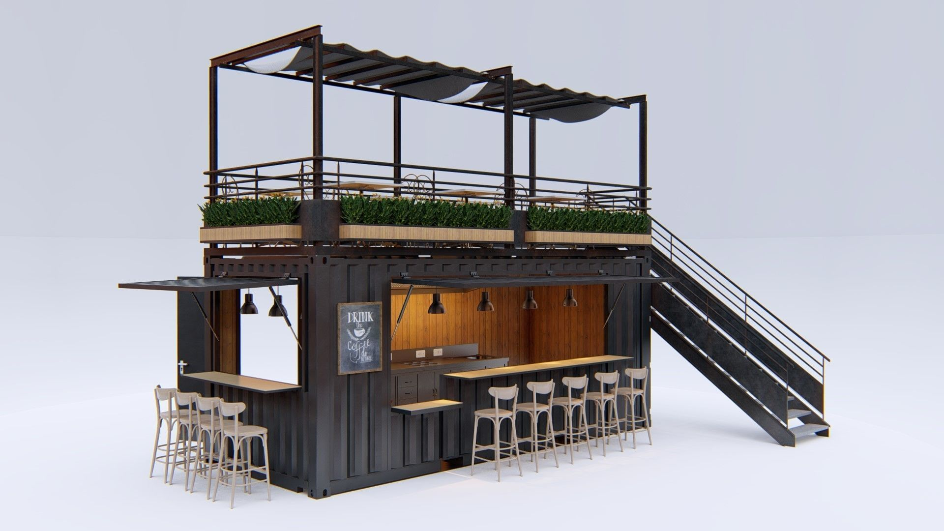 thiết kế container cafe